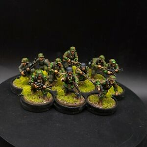 PRO PAINTED 28mm BOLT ACTION TEDESCA WAFFEN SS SQUADRA #1 × 10 Uomini Ww2 WARLORD GAMES
