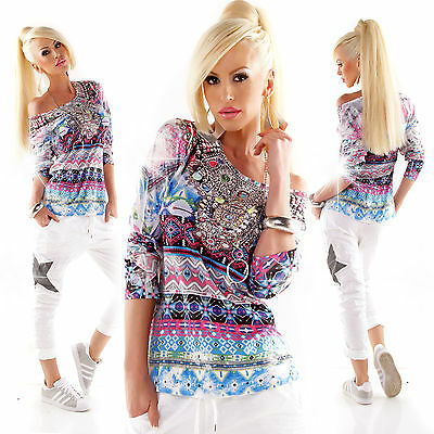 MISS CHARM PARIS Shirt Strass Langarmshirt Print Maya mehrfarbig Gr. S/M  M/L