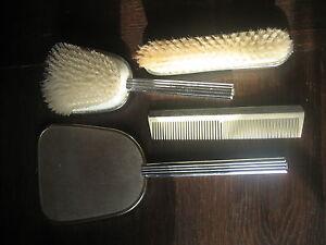 70er-Jahre-vintage-Konvolut-Frisiertisch-4teilig-Buerste-2x-Spiegel-Kamm-silber