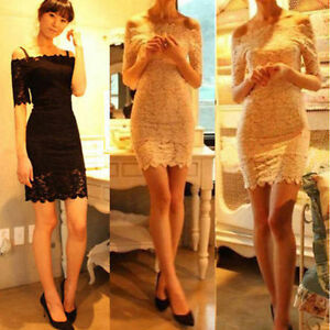 1cb6beb58afe Elegant Womens Lace Off Shoulder Short Sleeve Dress Mini Dress White ...