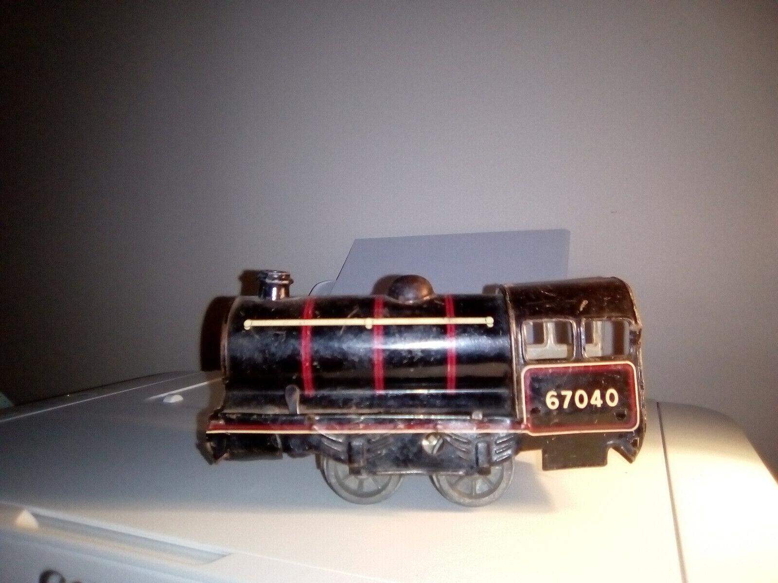 Antiguo Tren Carruaje Estaño Hornby Brimtoy mecánica, Inglaterra década de 1950 Raro