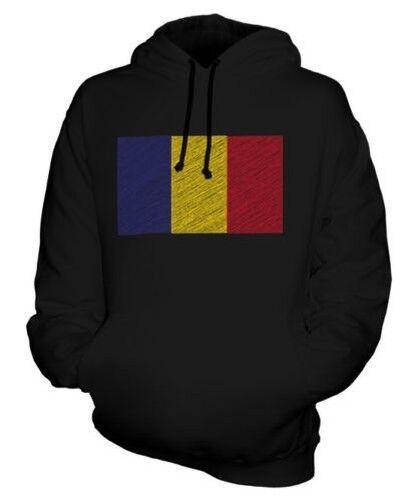 ROMANIA SCRIBBLE FLAG UNISEX HOODIE TOP GIFT ROMÂNIA ROMANIAN