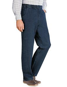 Mens-Jeans-Denim-Pantalones-de-vestir-elastico-en-la-cintura-con-cordon