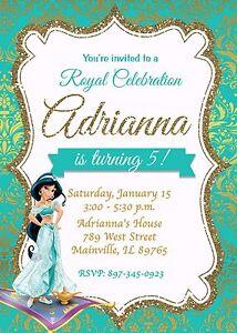 Image Is Loading Princess Jasmine Aladdin Birthday Party Invitation