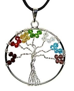 Tree-Of-Life-Pendant-Necklace-Translucent-Synthetic-7-Chakra-Color-Beads