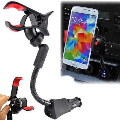 Car Cigarette Lighter Mount Holder USB Charger for Samsung iPhone HTC Nokia LG