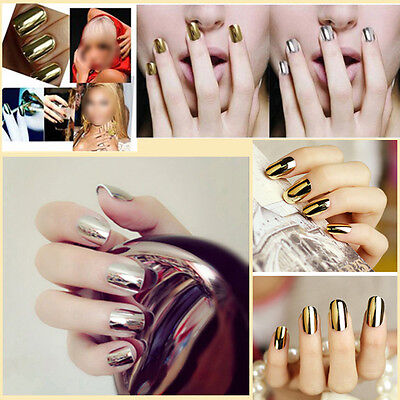 DIY 16 Pcs Nail Art Sticker Patch Foils Armour Wraps Decoration 3 Metal Colors