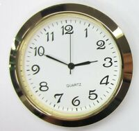 2-1/8 (55mm) Premium Quartz Clock Insert, Gold Bezel, Metal Case, Arabic