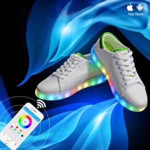Details About Bluetooth Men Women Usb Phone App Control Sneaker Luminous Led Light Up Shoes
