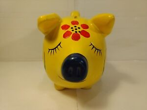 Vente Pas Cher Vintage Jaune Cochon Avec Fleurs Rouge Pièce De Monnaie Tirelire Hd957