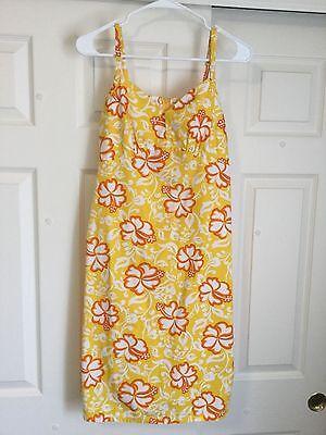 Hilo Hattie Women's Hawaiian Sun Dress Yellow Floral Zip Back Sz Small