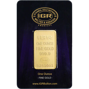 1 oz. IGR Gold Bar - Istanbul Gold Refinery - 999.9 Fine in Sealed Assay