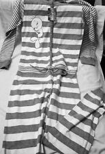 Tweety Bird Striped Sleepwear Non Footed Pajamas Adult Jumpsuit NWT S LAST ONE