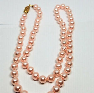 Pink-Glass-Pearl-10mm-24-inch-Vintage-Necklace-NEW-OLD-STOCK