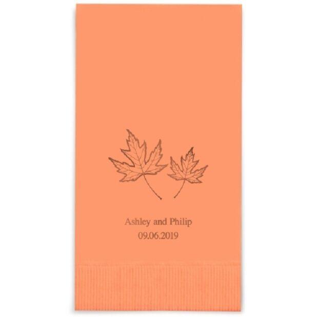 240 Fall Leaf Printed Rectangular Fold Wedding Dinner Napkins