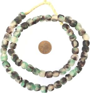60-Made-in-Ghana-Teal-chocolate-Recycled-glass-African-trade-beads-Ghana