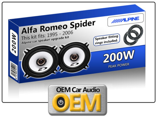 Alfa Romeo Spider Front Door speakers Alpine car speaker kit Adapter Pods 200W
