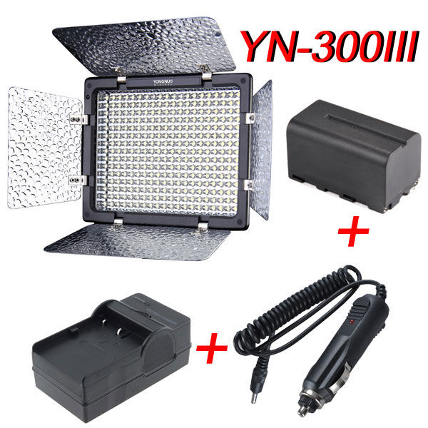 YN-300III + NP-F750 Battery + car charger + charger LED Video Light Camcorder
