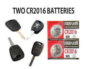 Details about 2 NEW PEUGEOT 307 206 PARTNER 107 406 106 REMOTE KEY FOB  BATTERIES CR2016