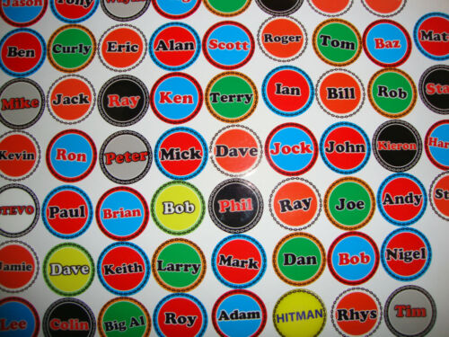 "12 CROWN GREEN BOWLS STICKERS 1/"" LADS NAMES  LAWN BOWLS STICKERS"