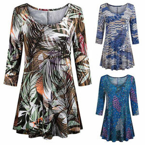 Fashion-Women-Casual-Floral-Print-3-4-Sleeve-Tunic-Shirt-Loose-O-neck-Top-Blouse