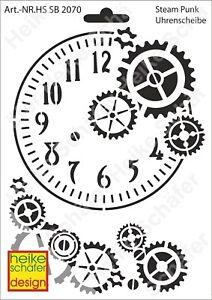 Schablone-Stencil-A5-134-2070-Steam-Punk-Uhrenscheibe-Neu-Heike-Schaefer-Design