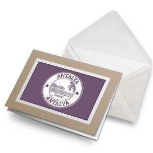 Greetings-Card-Biege-Antalya-Turkey-Turkish-Travel-Stamp-4724