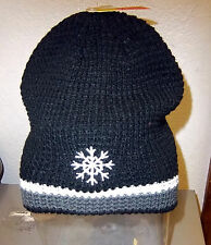 ec50587b Black Winter Knit Hat with Snowflake embroidery Cute! One size fits Most