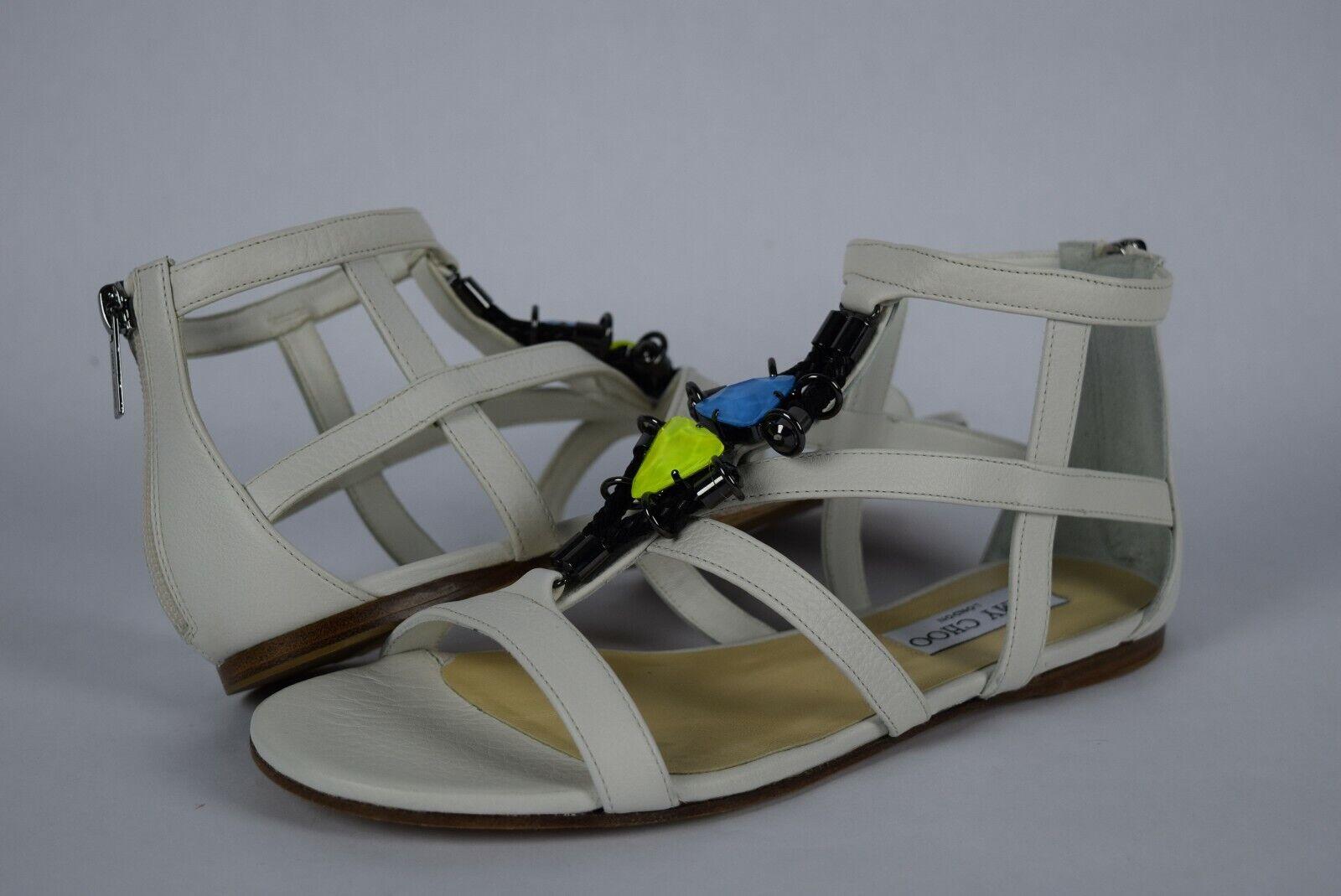 NIB  625 Jimmy Choo Nano Flat MJP Optic vit Gladiator Sandals sz 36.5 Juveler