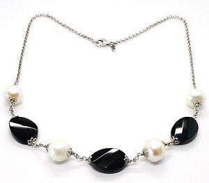 Collar-Plata-925-onix-Negro-Ovalados-Facetada-Perlas-44cm-Cadena-Rolo