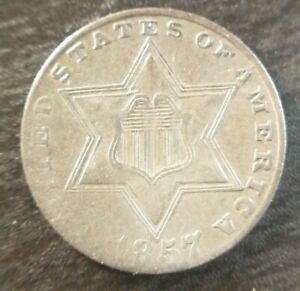 1857-Three-Cent-Silver-3C-Trime-Very-Fine-VF-or-Extremely-Fine-XF-Problem-Free