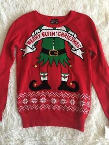 Ugly Sweater Womens Teen Red Merry Elfin Christmas Size L Holiday