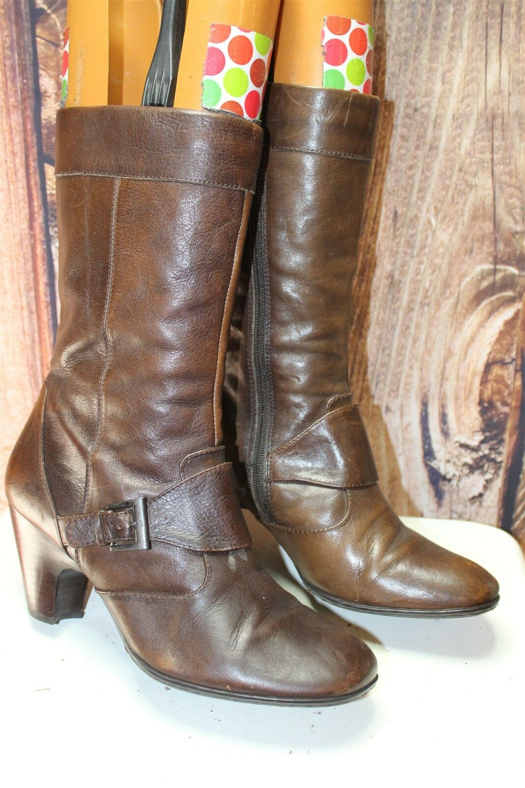 Born Brown Leather 40.5   9 Hell Mid Calf Women's Boots