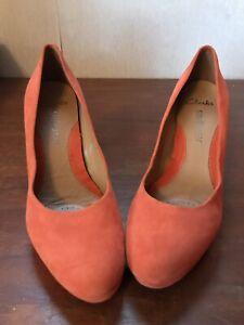 Clarks Softwear Womans Orange Suede
