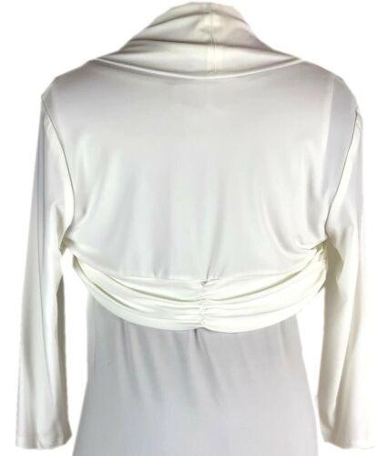 Raffung Cover up Jäckchen für Kleider UVP 119€ Frank Lyman 01034 Bolero weiß m