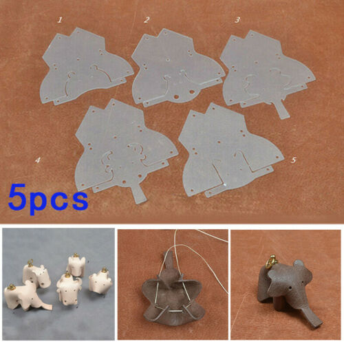 5-tlg PVC Leather Template Animal DIY Sewing Pattern Stencil Craft Making Tool