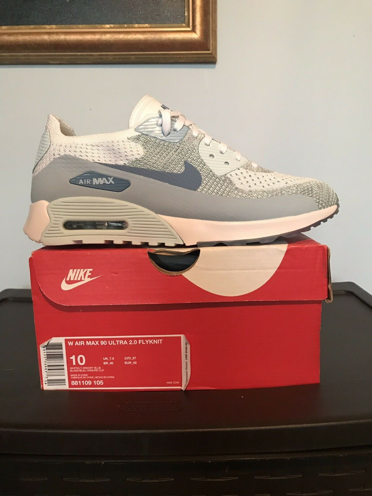 c87d79fd10 Women's Nike Air Max 90 Ultra 2.0 Flyknit Lt Armory bluee White Size 10