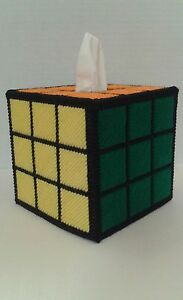 Solved-Rubiks-Rubix-Cube-Plastic-Canvas-Handmade-Tissue-Box-Cover