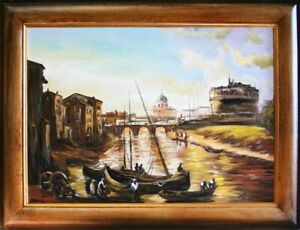 Painting-Venice-Port-Handmade-Ship-Oil-Painting-Picture-Oil-Frame-Pictures-05450