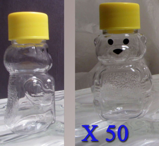 50 Clear Plastic Container 2oz Teddy Bear Honey Bear with seal Bee Keeping Pet