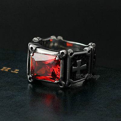 Men's Vintage Classic Crusader Cross Ruby Red CZ Stone 316L Stainless Steel Ring