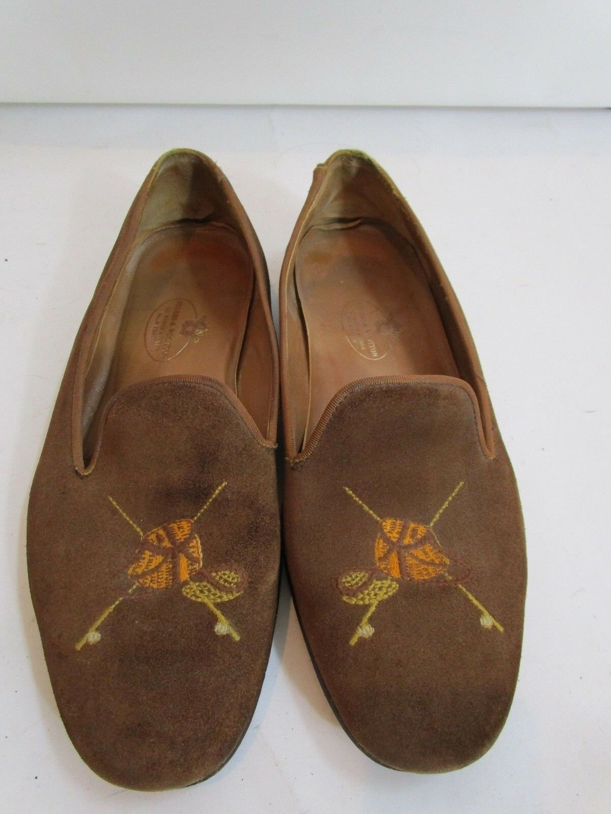 Stubbs and Wootton Brown Suede Fly Fishing Slip Ons Size 10.5