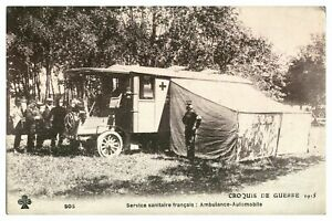 Antique-printed-military-WW1-postcard-French-Army-Ambulance-Croquis-De-Guerre