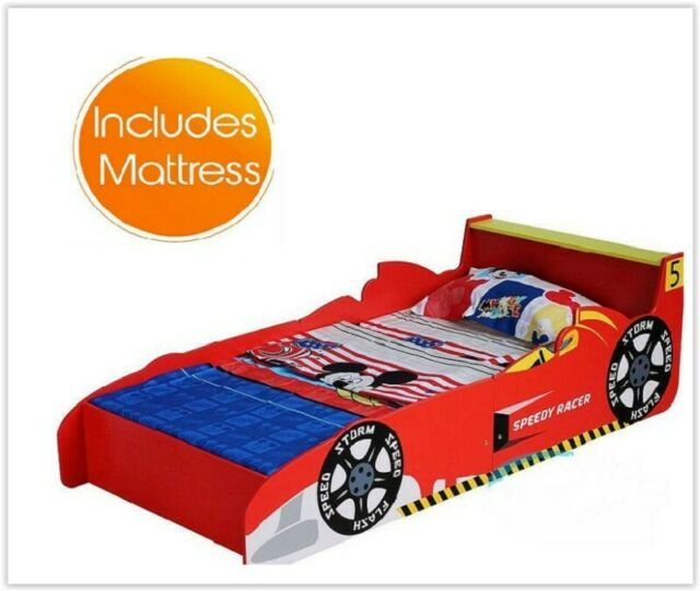 online store a4a14 9e4d1 Kids Car Bed Boys Single Foam Mattress Toddlers Bedroom Furniture Birthday  Gift