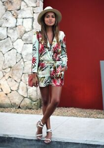 f19a144e89 Image is loading Topshop-Green-Tropical-Print-Satin-Pyjama-Playsuit-UK-