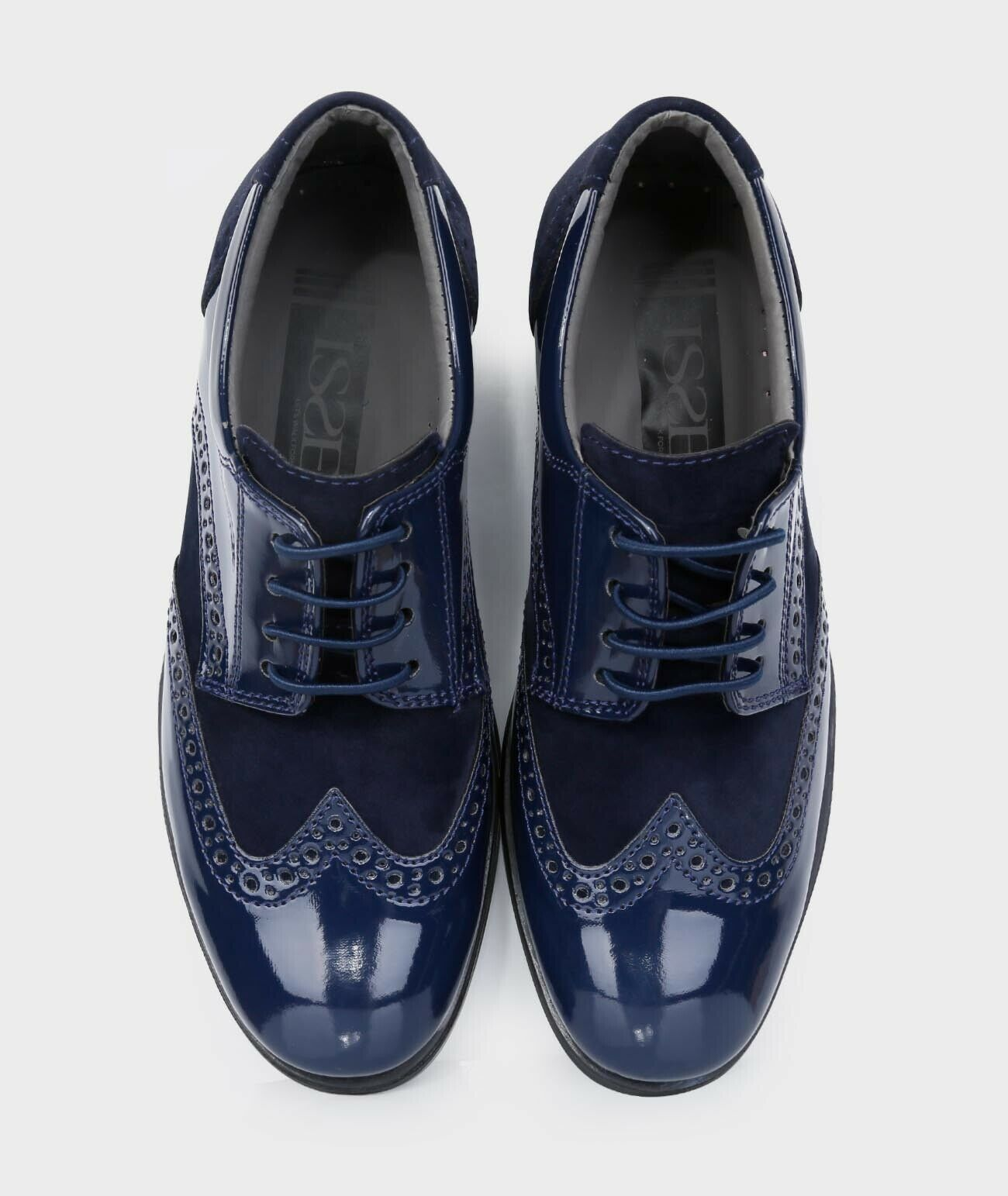 Boys Formal Navy Blue Suede Patent Weddings Page Boy Prom Brogue Shoes Ebay