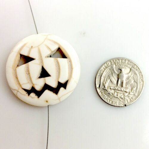 "Halloween Magnesite Turquoise Pumpkin Bead 15/"" Black Orange White Blue Turquoise"