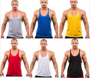 Men-039-s-Bodybuilding-Tank-Top-Muscle-T-Shirt-Gym-Fitness-Stringer-Sports-Singlets