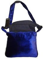 Eaonplus Blue Gothic Velvet Fold Over Flap Cross Body Bag (L29 x W6 x H22cm) NEW