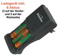 Binatone Batterie-ladegerät Akku-ladegerät Lade-schale + 6 Aaa 600 Mah Akkus Neu